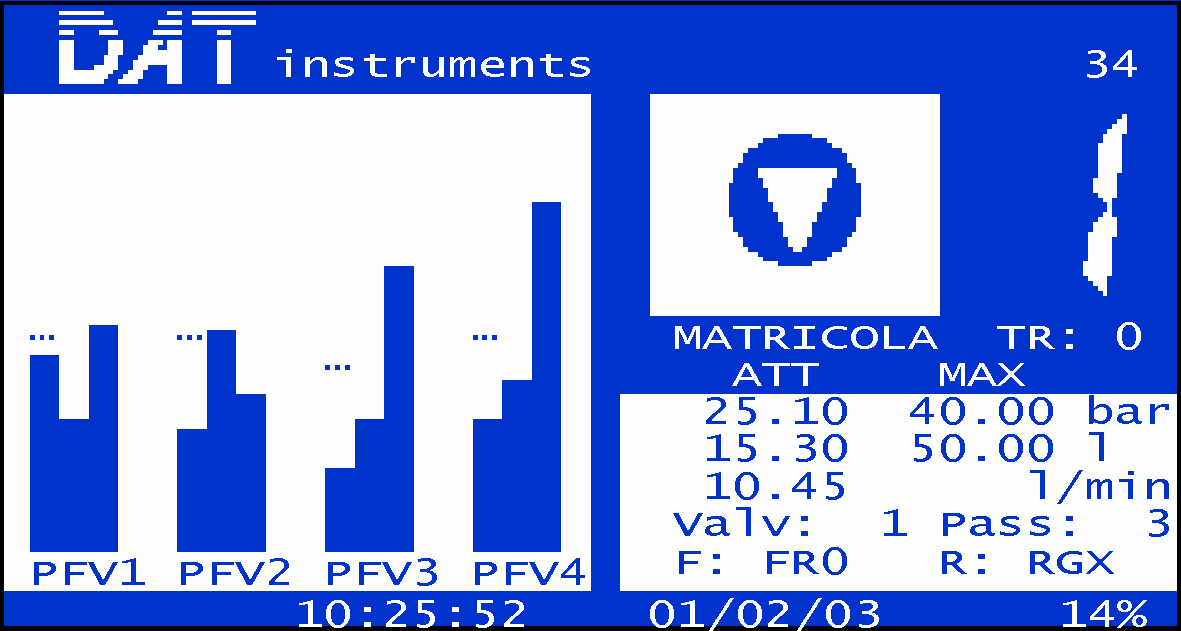 DAT instruments, JET 4000 AME / I, injection parameters screen