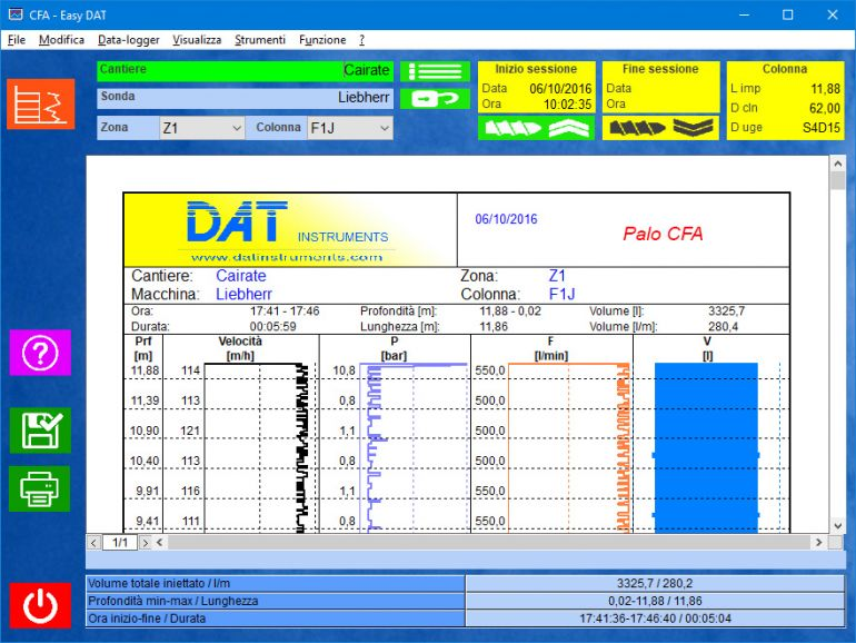 Easy DAT, continuous flight auger, CFA, auger cast pile, ACP,  certification software, concrete pressure, concrete quantity, rod speed