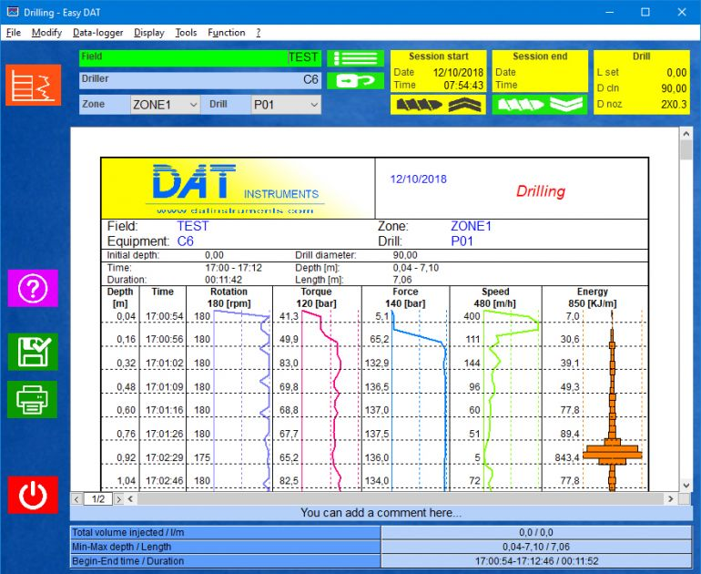 Easy DAT software, drilling MWD, graphic certification digitalization recording