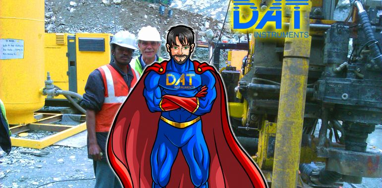 DAT instruments datalogger, drilling rig operators, DAT instruments character, superhero in field, DATman
