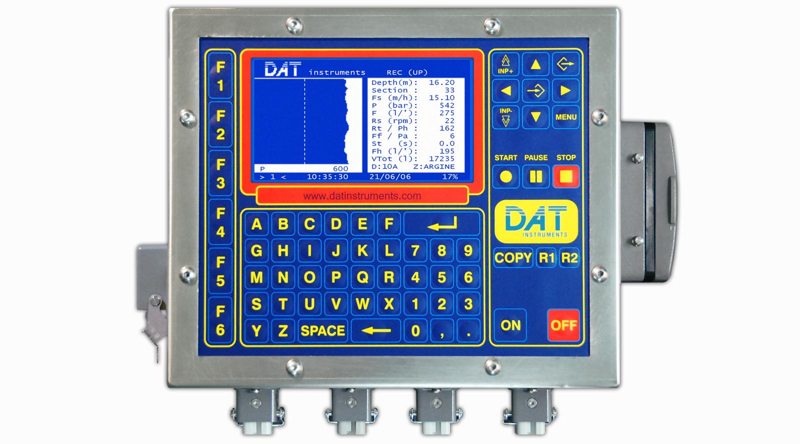 Los datalogger DAT instruments montados en todas las perforadoras