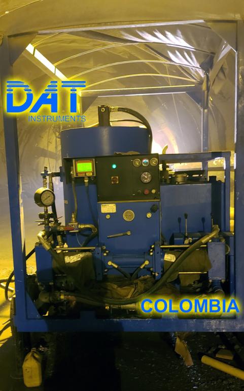 DAT instruments, Colombia, datalogger, grouting, JET DSP 100 IRT, en la obra, Autohormigonera y bomba de inyección móvil