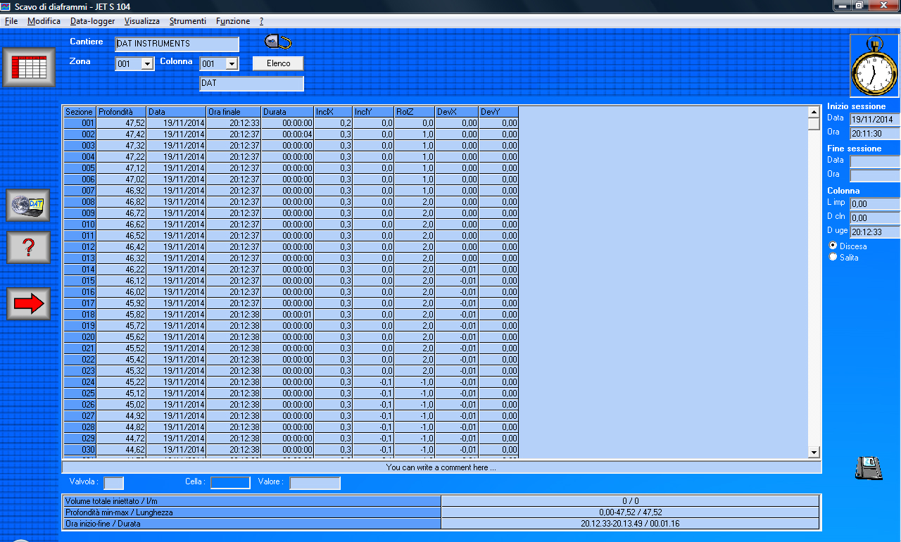 DAT instruments, JET S 104, software per Scavo di diaframmi, tabella