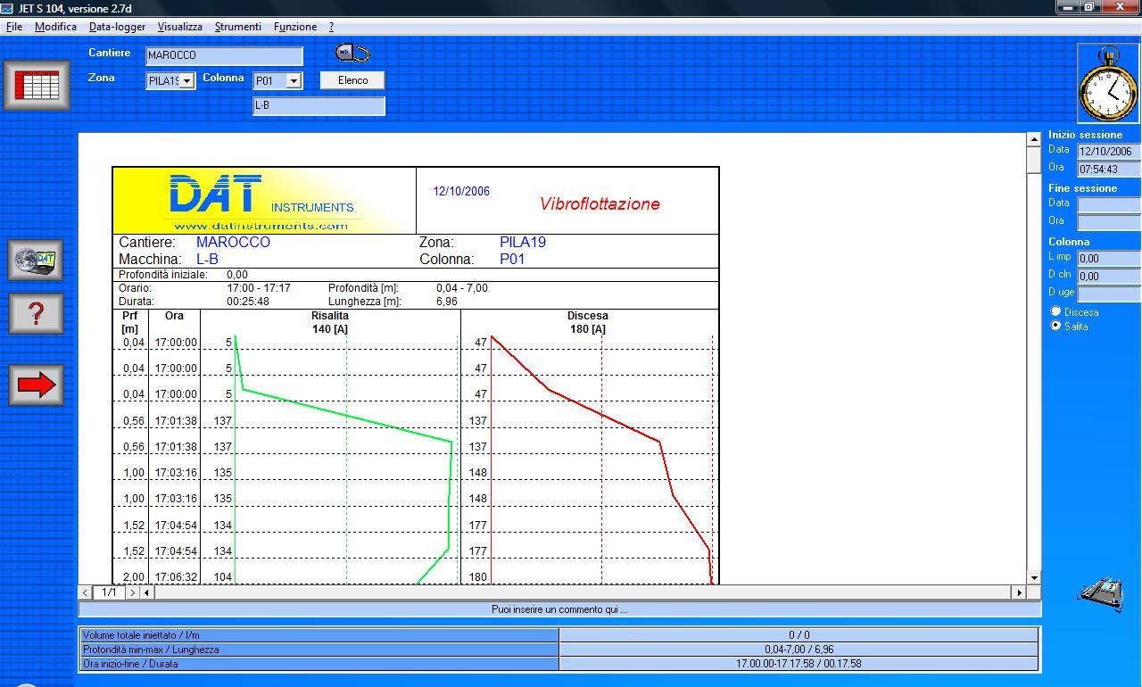 DAT instruments, JET S 104, software per vibroflottazione