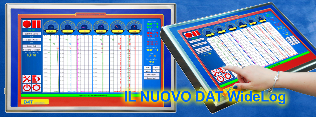 DAT instruments, datalogger per geotecnica e fondazioni speciali, il nuovo DAT WideLog, touch screen, wi-fi, inox, USB