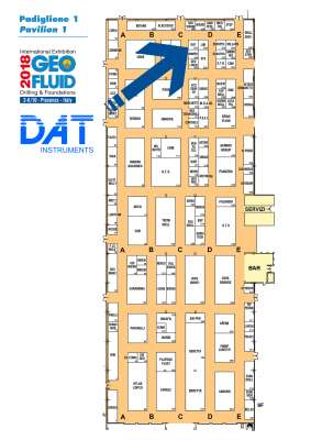 DAT instruments, Geofluid 2018, planimetria, padiglione 1, corsia C, stand 167