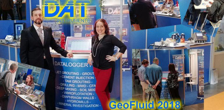 DAT instruments, GeoFluid 2018, stand, jetgrouting, CFA, drilling dWalls, scavo di diaframmi, collage