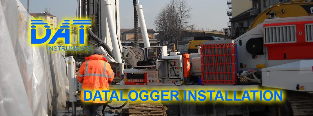 DAT instruments, datalogger, installation, drilling machines, crane, hydromills