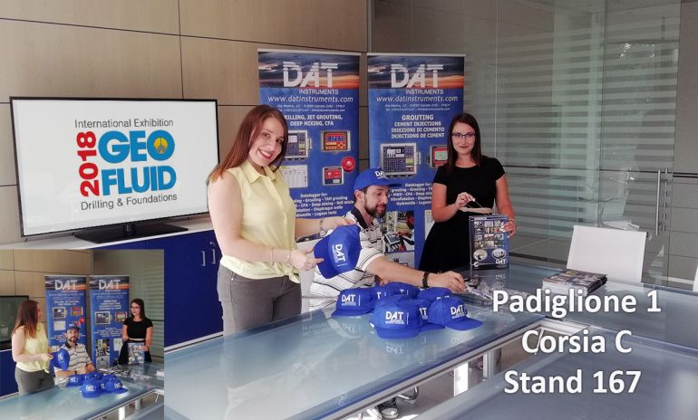 DAT instruments, Geofluid 2018, getting ready, pavilion 1, stand 167