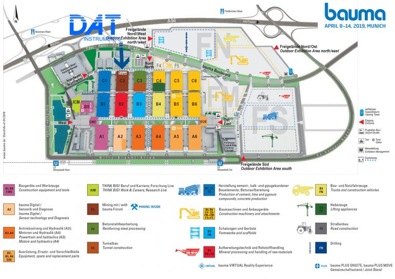 DAT instruments, BAUMA 2019, stand, datalogger, plan