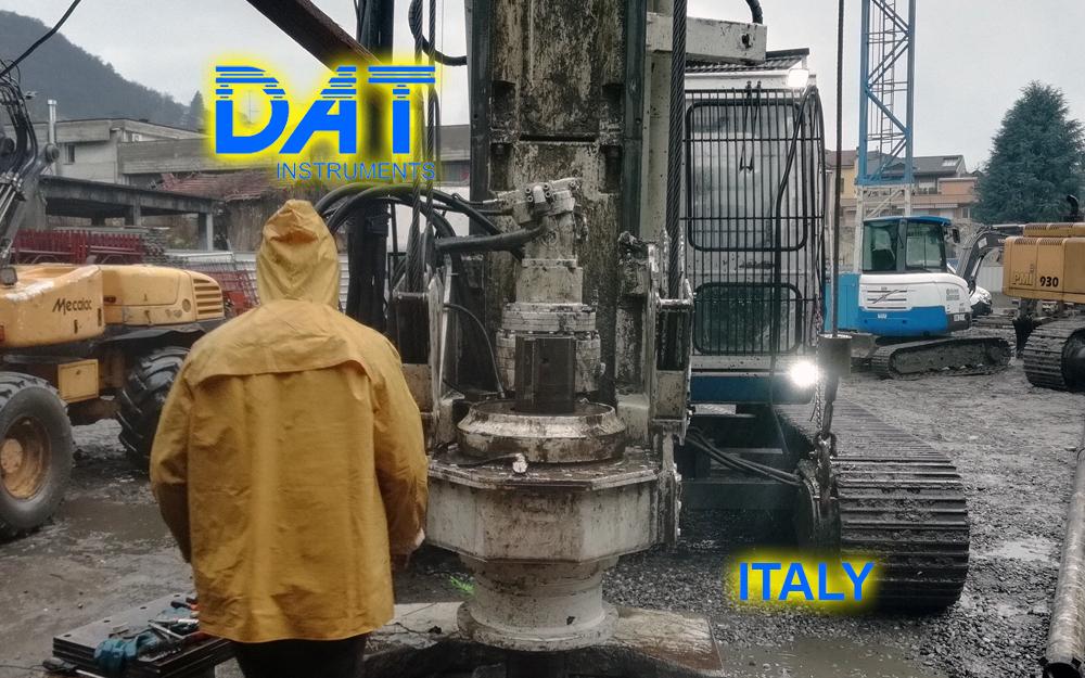 DAT instruments, DAT TinyLog, building foundations, CFA recorder, continuous flight auger recorder, data logger, data recorder, Italy 2019, building site