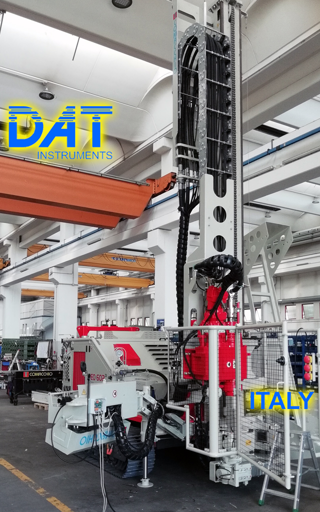 DAT instruments, datalogger installed at the drilling rigs manufacturer, JET SDP IB