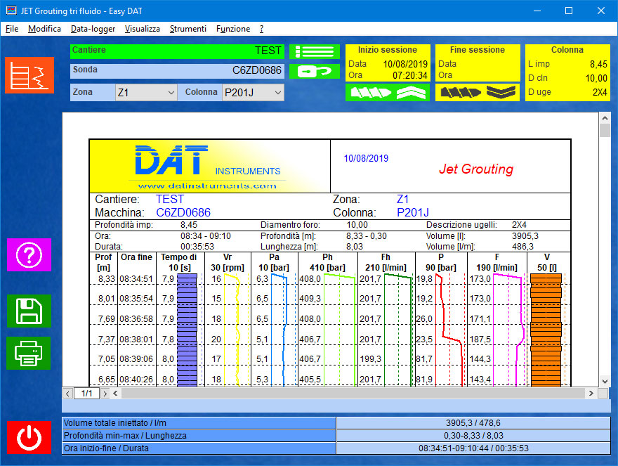 Easy DAT, Jetgrouting, Jet grouting (single fluid, double fluid, triple fluid), piling, certification, software