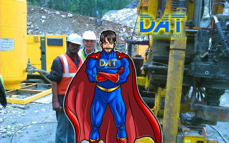 DAT instruments datalogger, drilling rig operators, DAT instruments character, superhero in field, DATman