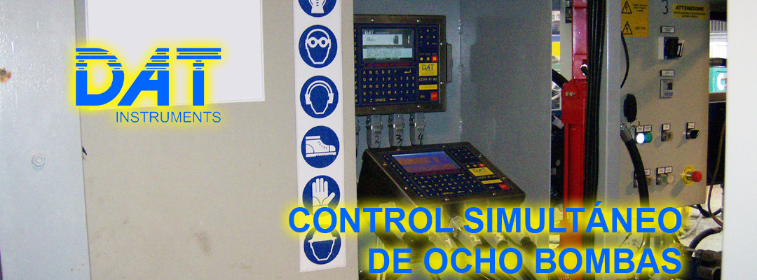 DAT instruments, datalogger, control, ocho bombas simultáneamente