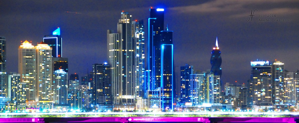 Panama City skyscrapers by night, by Amedeo Valoroso