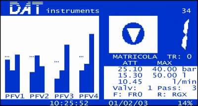 DAT instruments, JET 4000 AME / I, schermata parametri iniezione