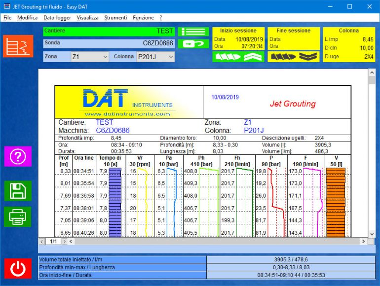 Easy DAT, Jetgrouting, Jet grouting, palificazione, certificazione, software