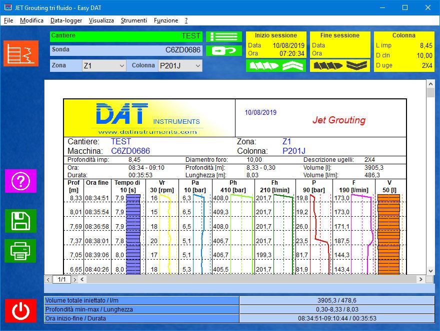 Easy DAT, Jetgrouting, Jet grouting (monofluido, bifluido, trifluido), palificazione, certificazione, software